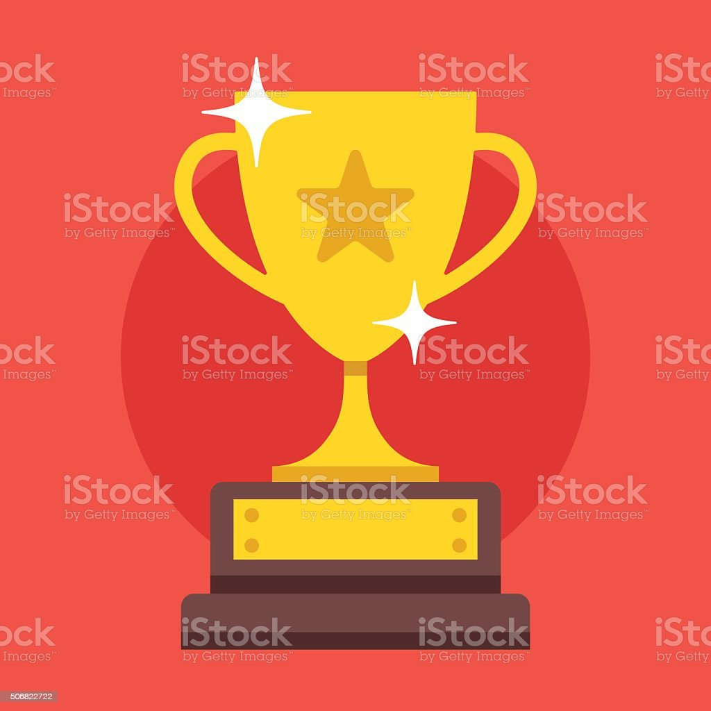 Golden cup. Modern flat design vector illustration