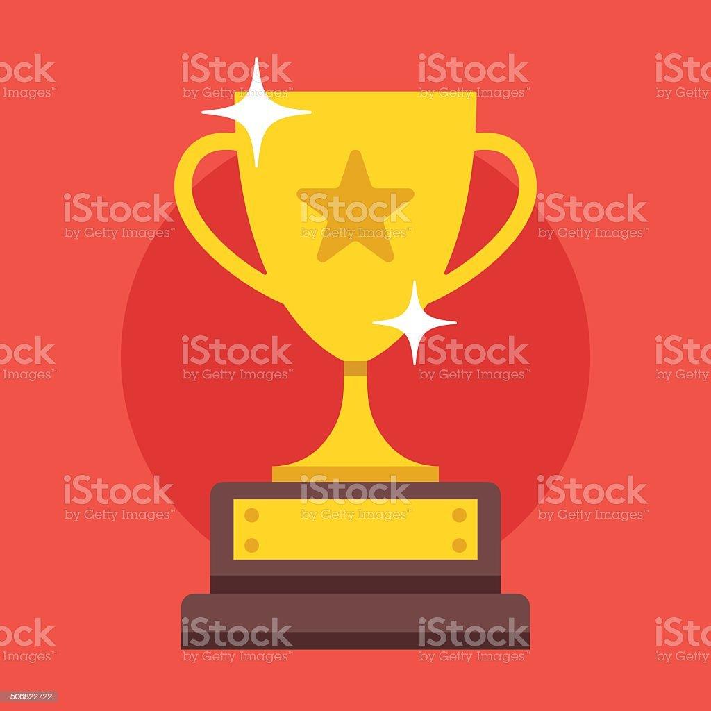 Golden cup. Modern flat design vector illustration
