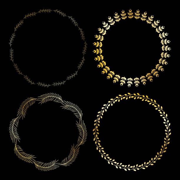 nette runde goldrahmen. vektor-kranz mit kräuter und blätter. - gartenfolie stock-grafiken, -clipart, -cartoons und -symbole