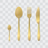 Golden Cutlery Set. Silver Fork, Spoon and Knife. Top View Vector. Table Setting