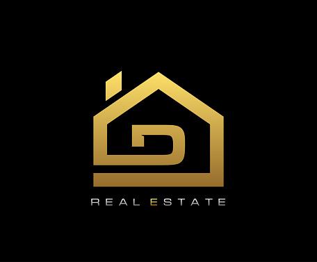Golden D House Logo Design, Real Estate Icon.