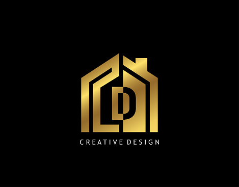 Golden D Letter Logo. Minimalist gold house shape with negative D letter