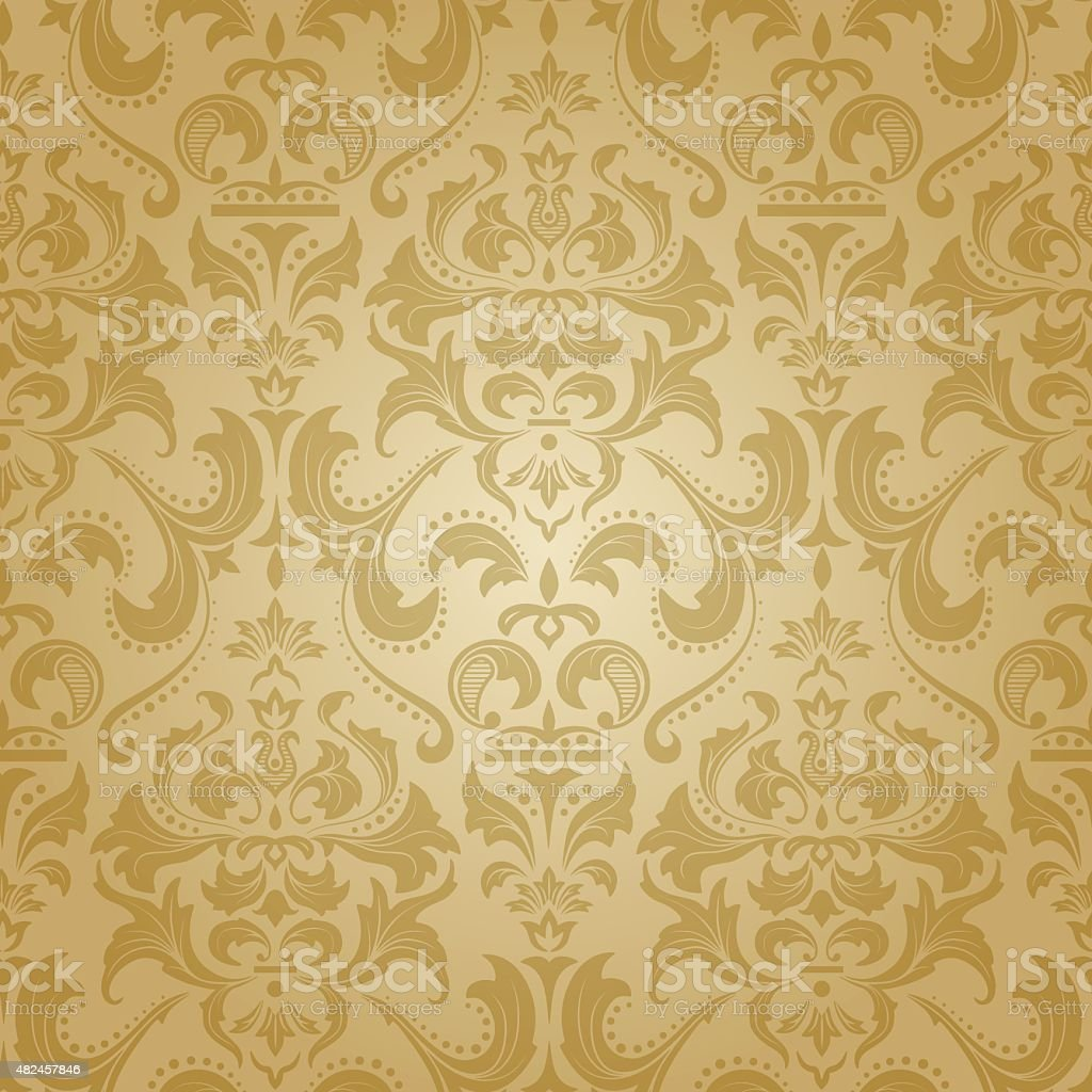 Golden damask seamless floral pattern. vector art illustration