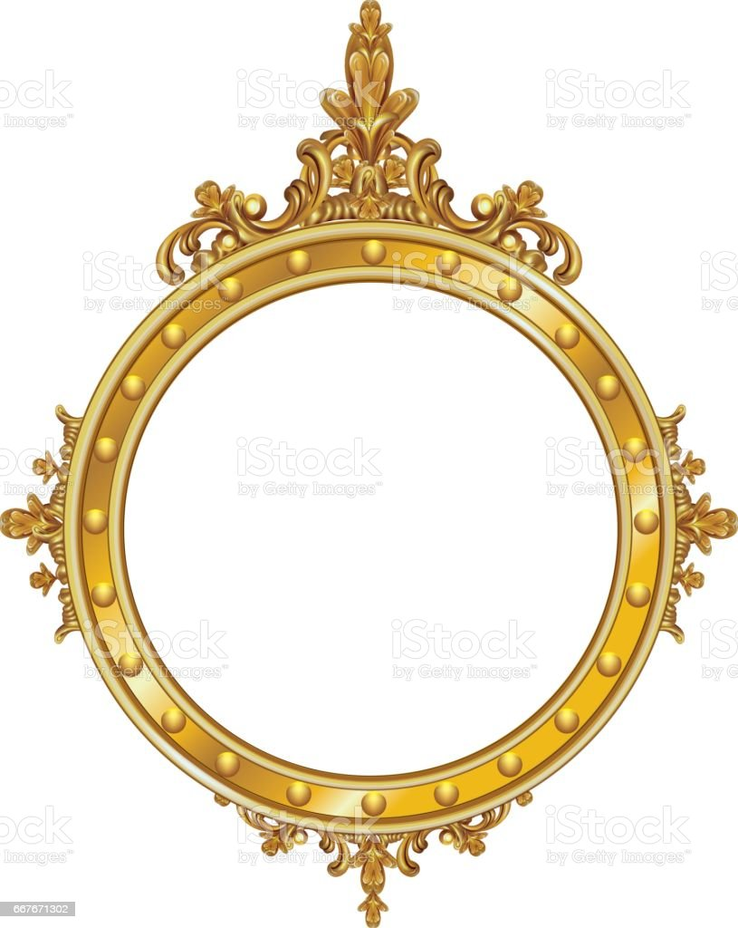 golden decor mirror frame vector royalty free stock vector art - Decorate Mirror Frame