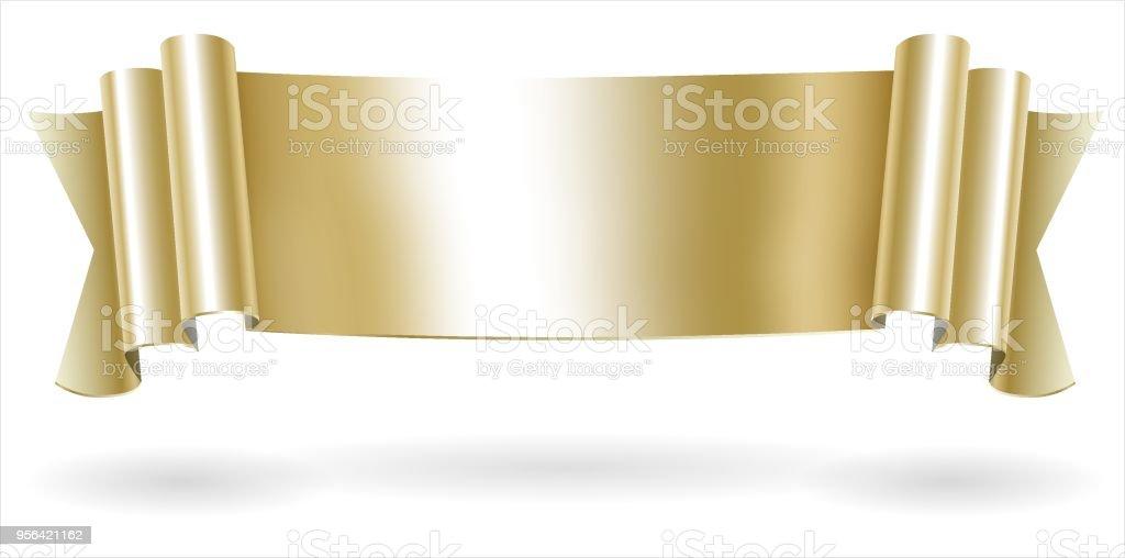 Golden decorative scroll banner vector art illustration