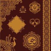 Golden Design Elements with Indian Om logo
