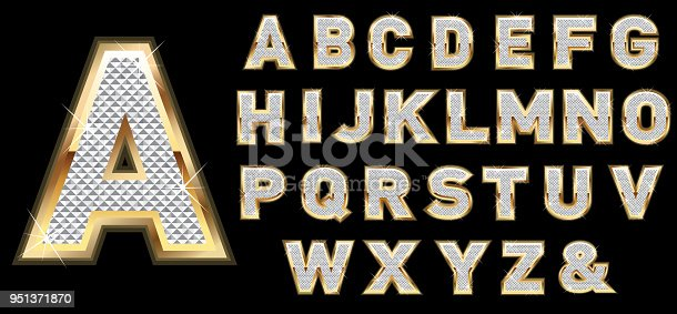 Letter set for Luxury gold and diamond style