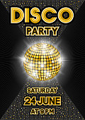 Golden disco ball on black background. Party poster in retro style. vector illustration - eps 10