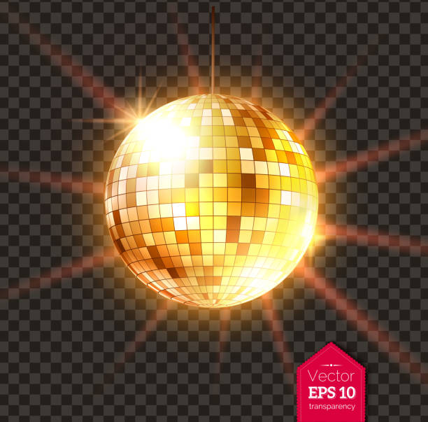 Golden Disco ball with light rays Vector illustration of golden Disco ball with light rays isolated on transparent background. disco ball stock illustrations