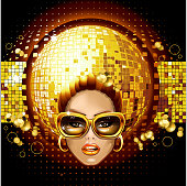 Beautiful face girl in glasses on the background of glowing disco ball.