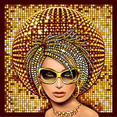 Beautiful face girl in gold glasses on the background of glowing disco ball. EPS 8 file vector illustration.