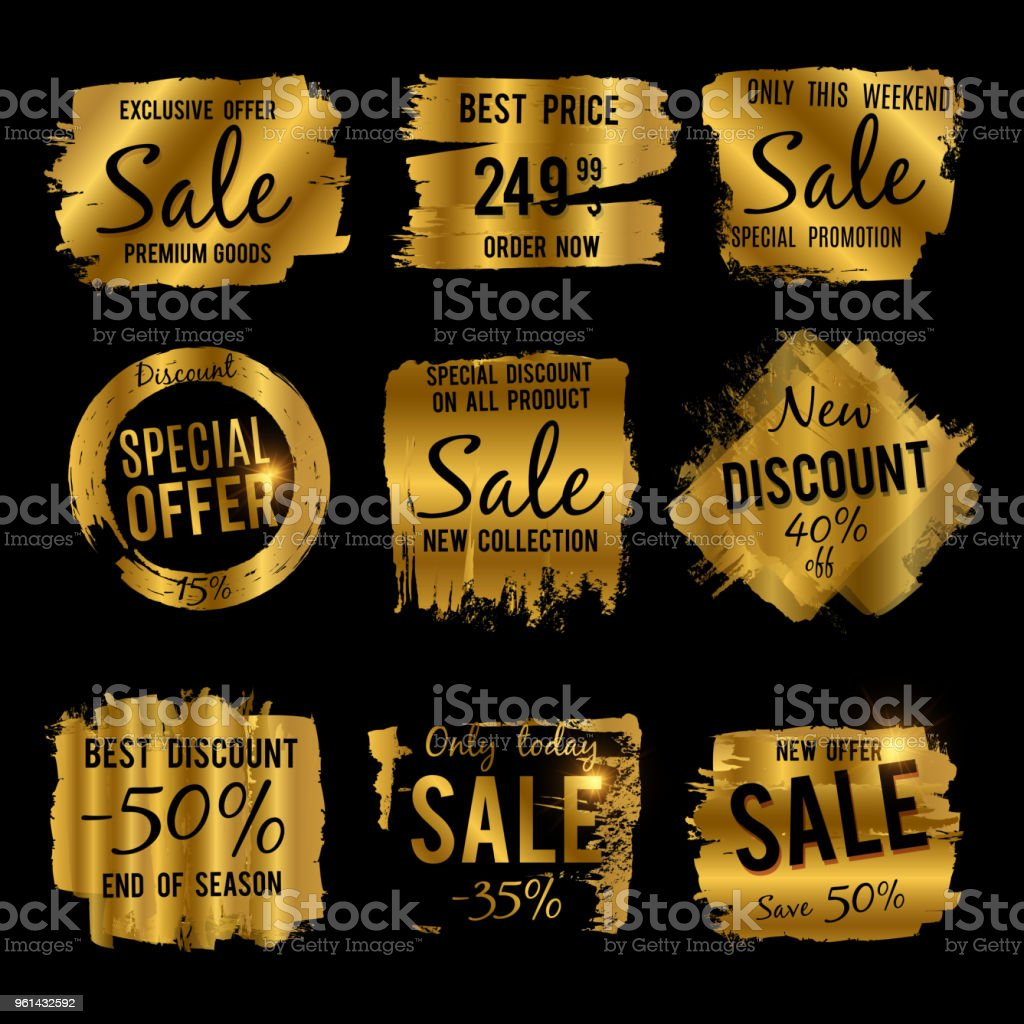 Golden Discount And Price Tag Sale Banners With Grunge Brushed ...