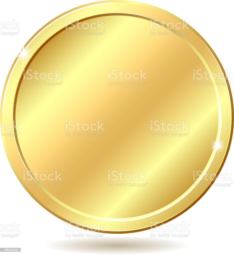 Golden disk, blank for medal or coin, shining in the light vector art illustration