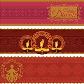 A set of banners celebrating the Indian festival of Diwali - includes butter lamps and Lakshmi, the Goddess of Wealth. (Includes .jpg)
