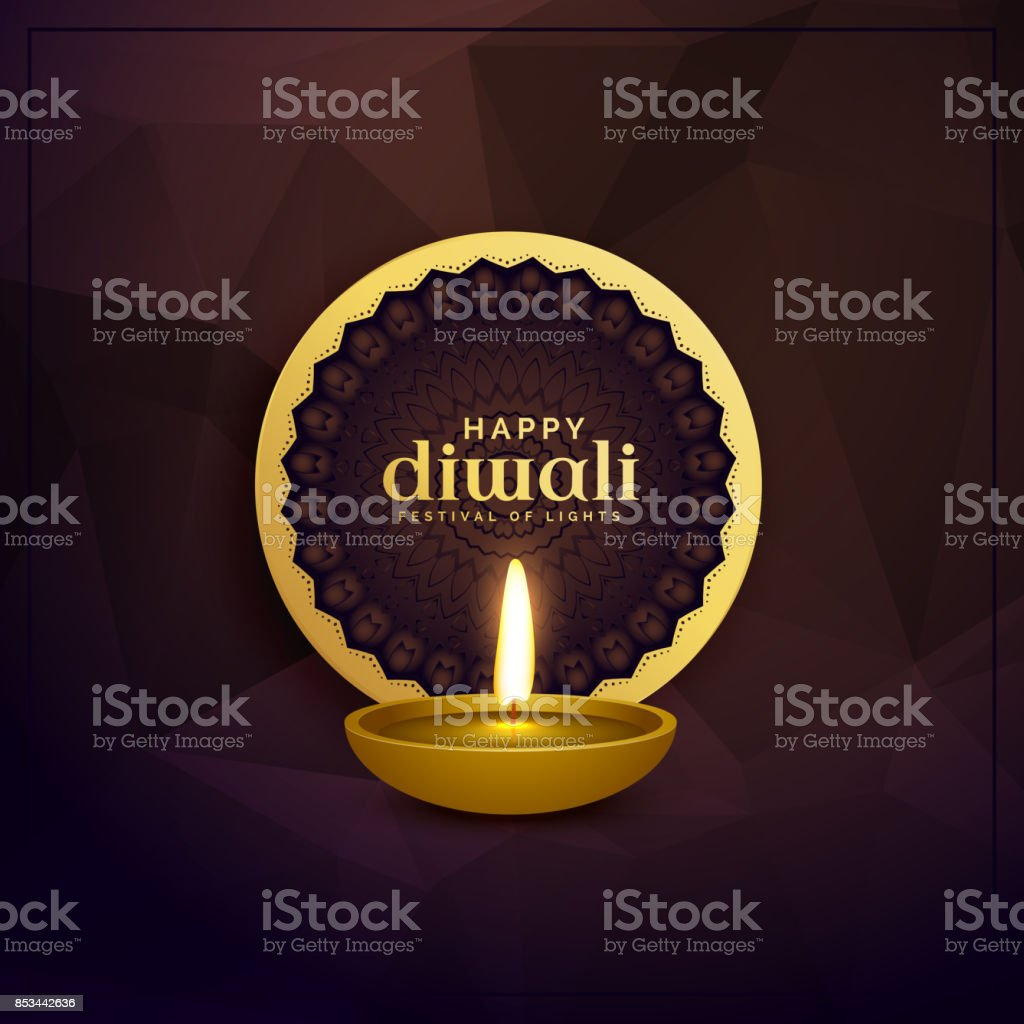 Golden Diwali Greeting Card Design With Diya Lamp Stock Vector Art