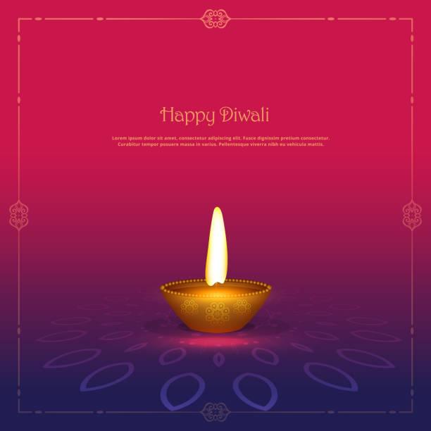 golden diya diya lamp on beautiful background - diwali stock illustrations