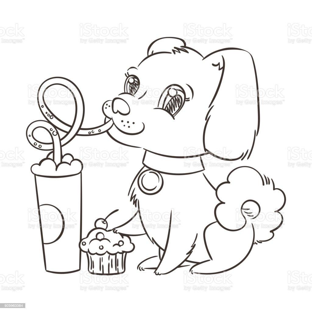 Goldenen Hund Trinkt Kaffee Oder Milchshake Die Hand Gezeichnete ...