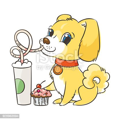 Golden dog drinks coffee or milk shake. Hand drawn illustration for New Year t-shirt, poster, postcard