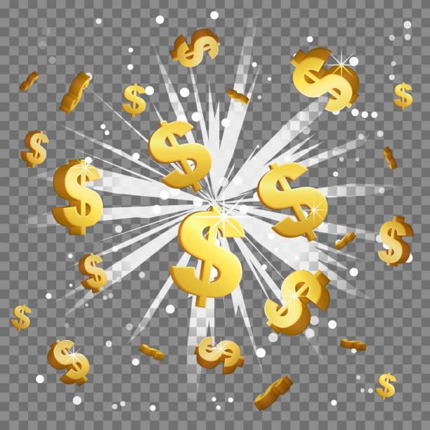 黄金のドル記号光線レンズ フレア爆発 - ドル記号点のイラスト素材/クリップアート素材/マンガ素材/アイコン素材