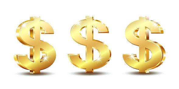 Golden dollar symbol isolated on white background. Vector illustration.