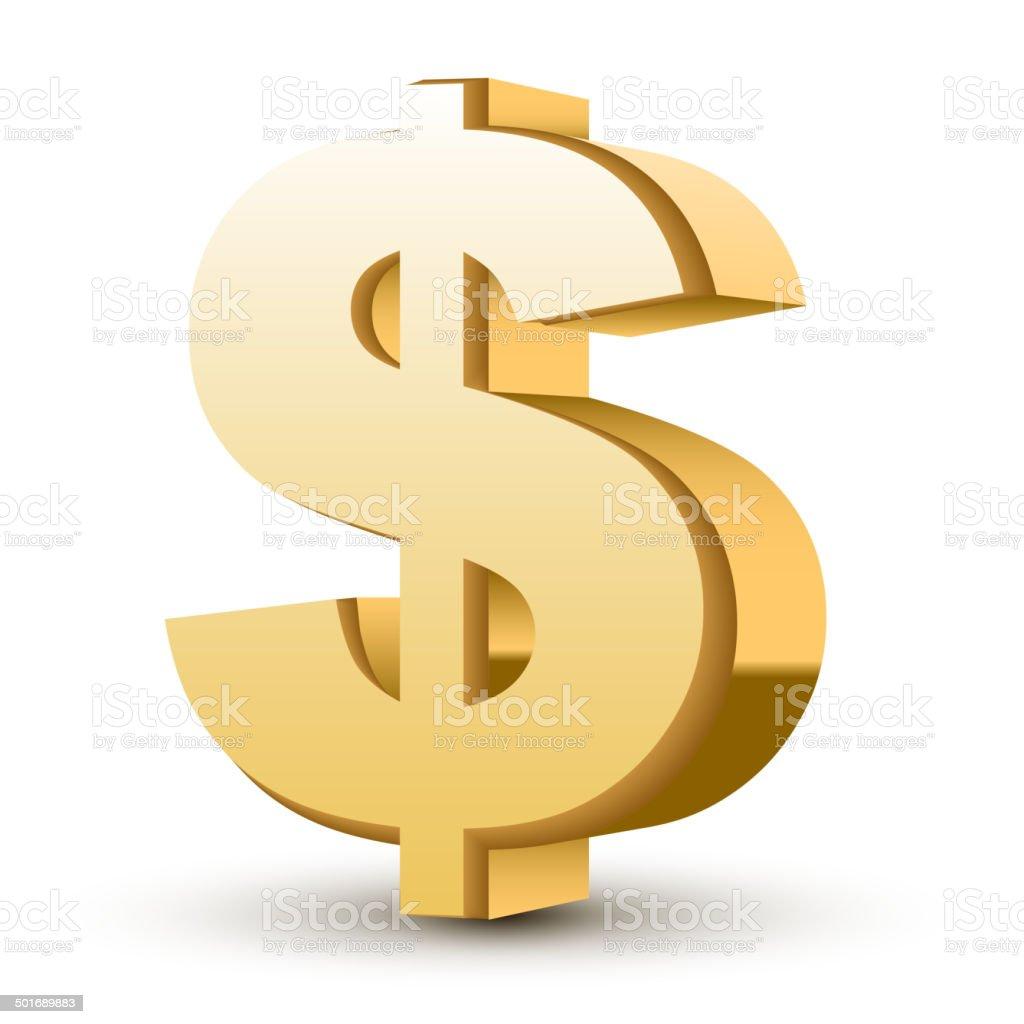 golden dollar symbol vector art illustration