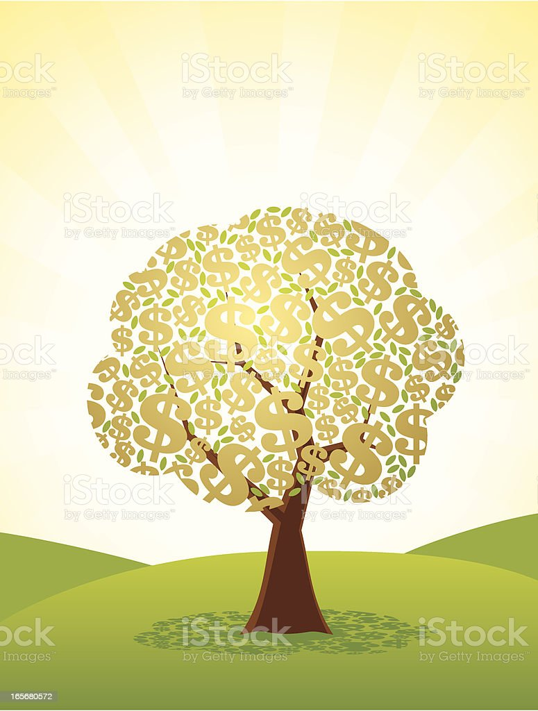 Golden Dollar Tree vector art illustration
