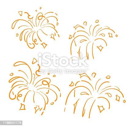 istock Golden Doodle Fireworks Isolated on White Background symbol for Celebration, Party Icon, Anniversary, New Year Eve. hand drawn style 1198541175