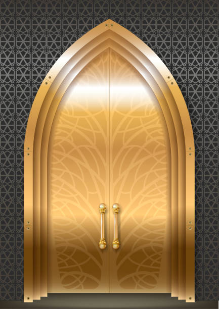 Golden door of the Palace vector art illustration