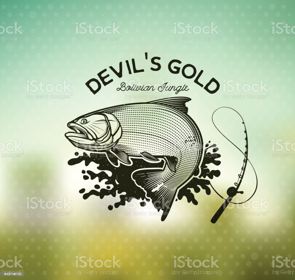 Golden Dorado Fishing emblem on blur background. Vector Illustration. vector art illustration