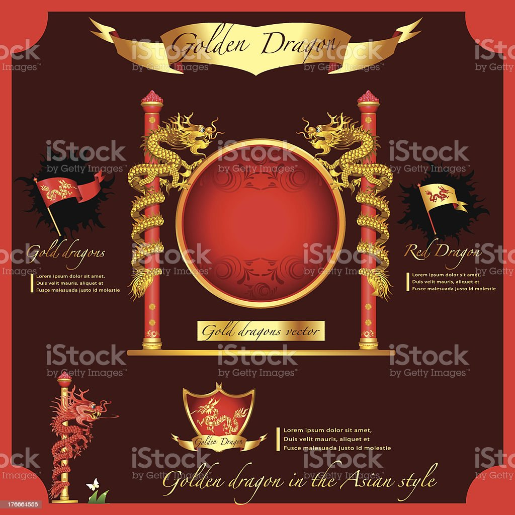 Golden Dragon on a red background .  infographic royalty-free golden dragon on a red background infographic stock vector art & more images of abstract