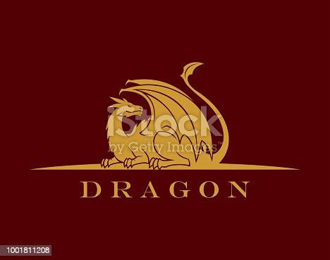 Elegant dragon symbol vector illustration