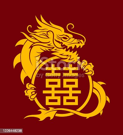 Golden dragon holding a double happiness sign - cut out vector icon