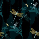 Seamless, Japanese textile design with petrol blue, black and golden dragonflies (Anisoptera) on grudge paint structure. The all over impression is modern and dramatic, although the style reminds on classic, Asian (Japanese) fabrics.