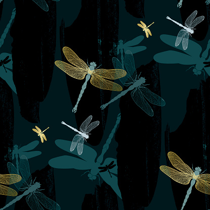 Golden dragonflies on dark teal background (Seamless pattern kimono style)