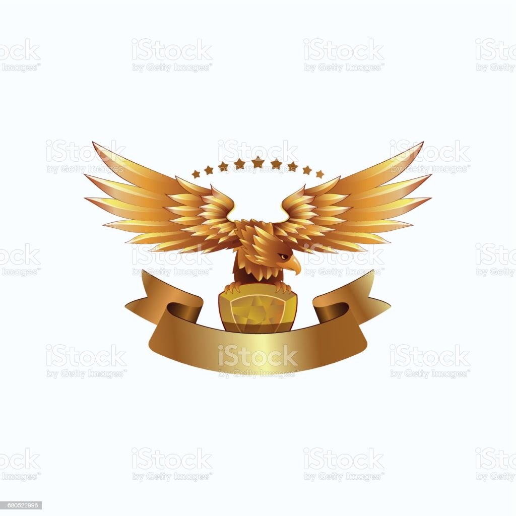 Golden Eagle emblem with ribbon. Heraldic eagle with spread wings template and the jewel in its claws. - ilustração de arte em vetor