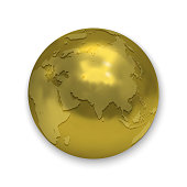 Golden Earth globe icon