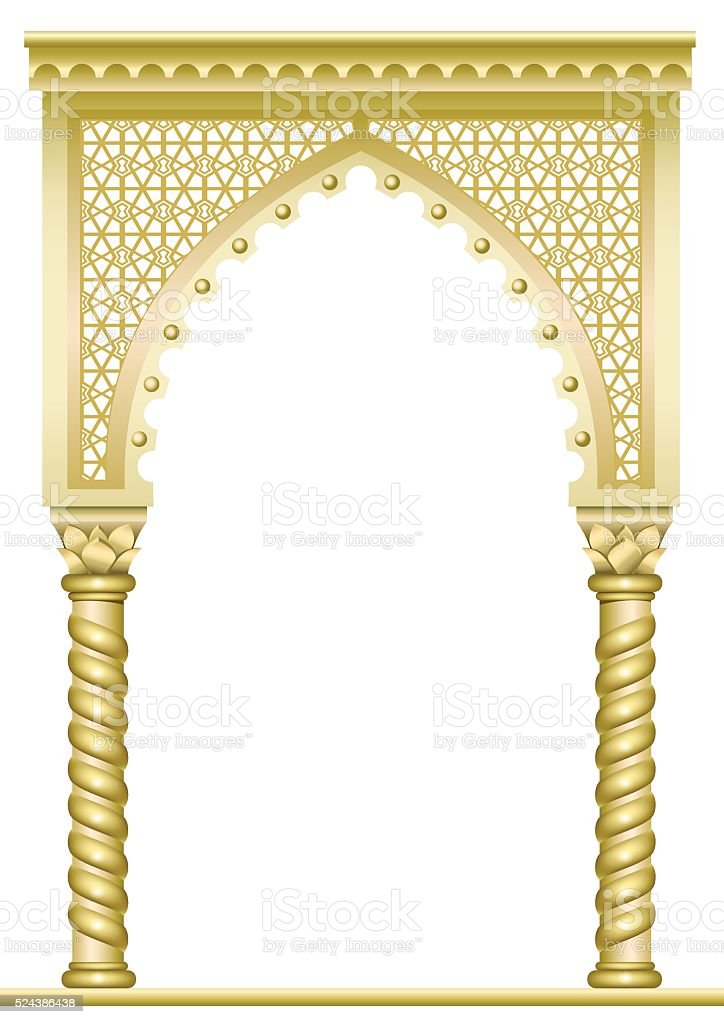 Golden East Arch vector art illustration
