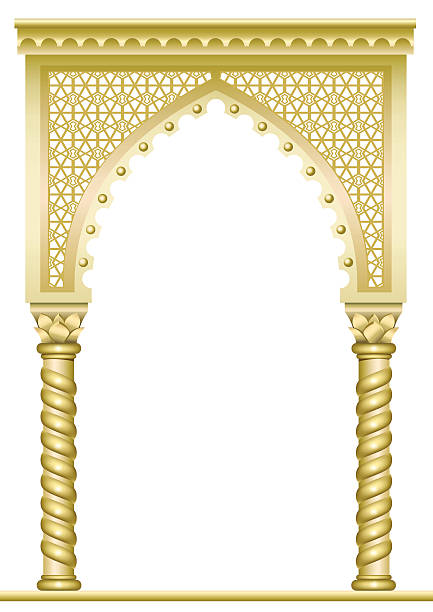 Golden East Arch vector art illustration