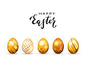 Black lettering Happy Easter and golden Easter eggs isolated on white background, illustration.