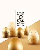 A collection of golden Easter chocolate eggs with room for text. Easter composition vector illustration.