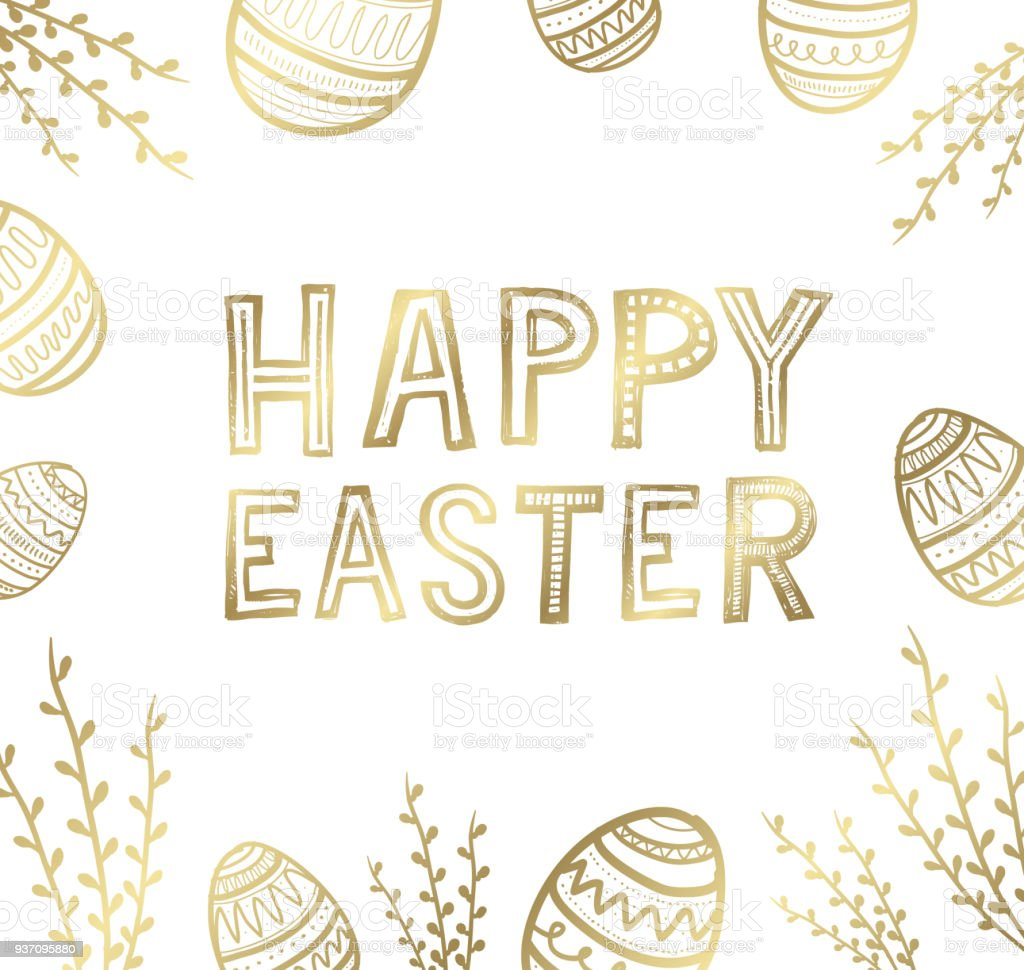 Golden Easter Greeting Cards And Backgrounds Stock Vector Art More