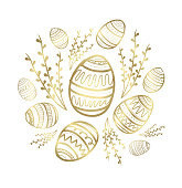 golden easter greeting cards and backgrounds, vector illustration eps.10