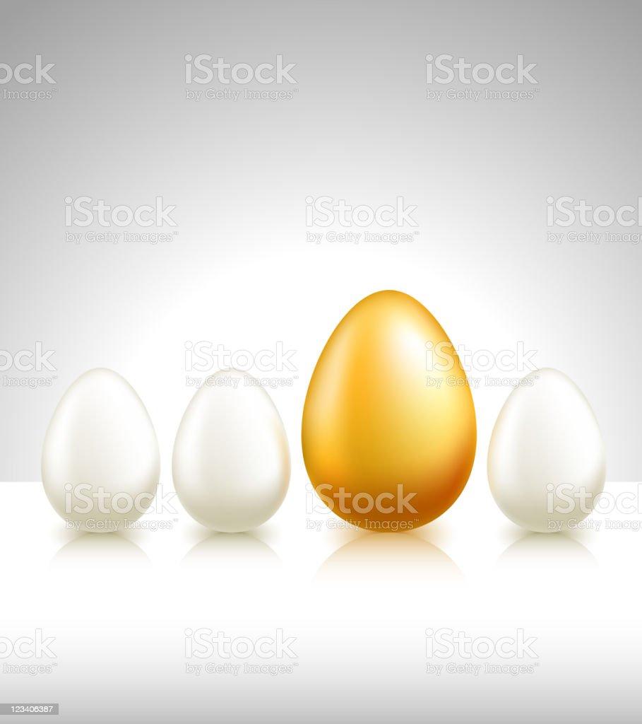 golden egg among regular eggs royalty-free stock vector art