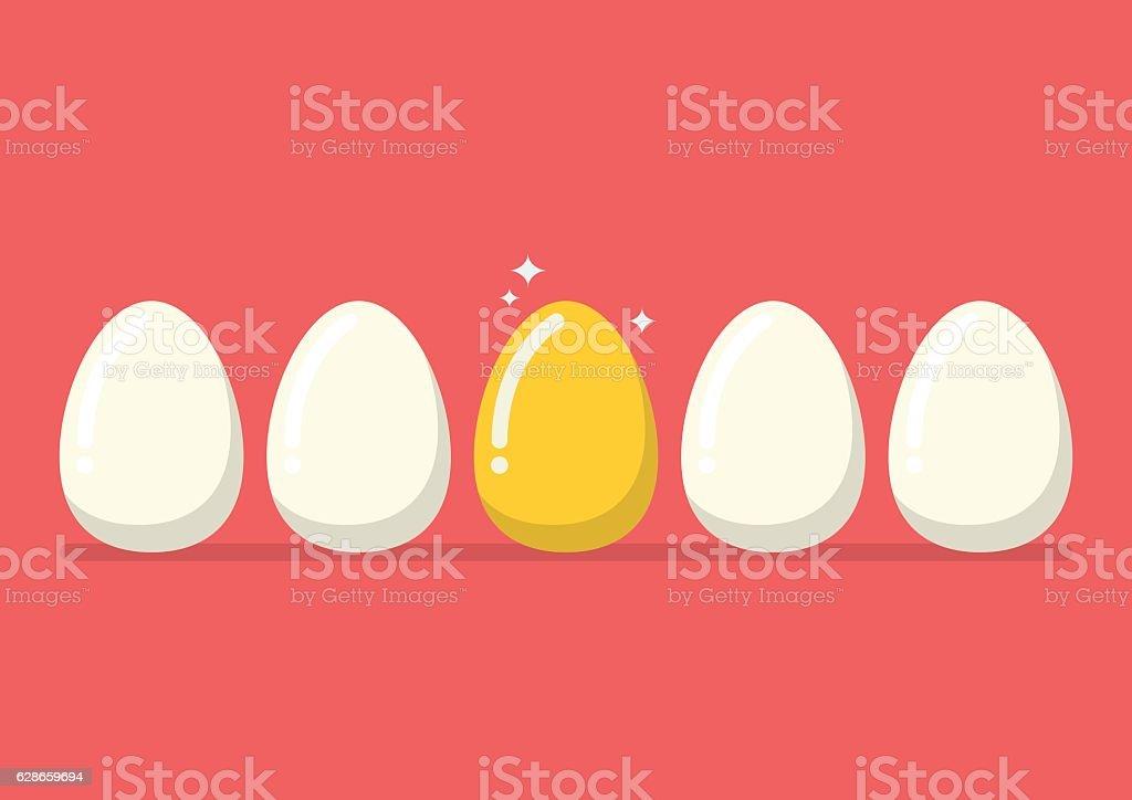 Golden egg among the usual vector art illustration