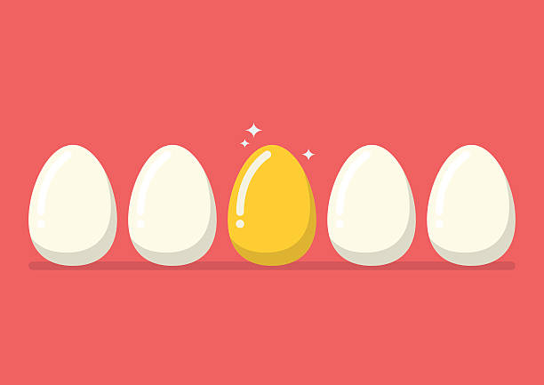 golden egg among the usual - egg stock illustrations, clip art, cartoons, & icons