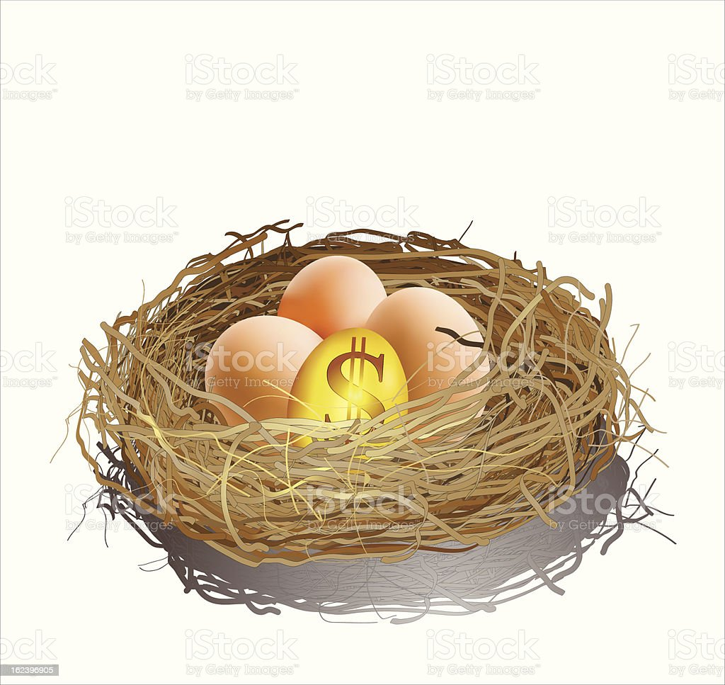 Golden egg and three eggs in a nest vector art illustration