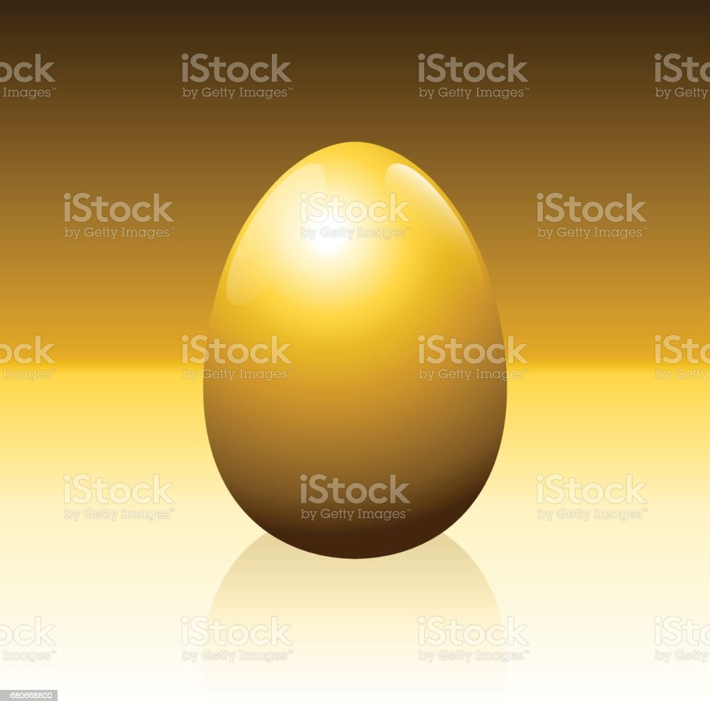 Golden egg on golden background - idiom for success, profit, wealth, financial luck or any other lucrative business issues - isolated vector illustration. vector art illustration