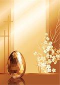 Illustration of a golden easter egg