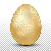 Golden chicken egg. Layout for easter pattern. Eco product. 3D realistic image isolated on transparent background. Vector illustration