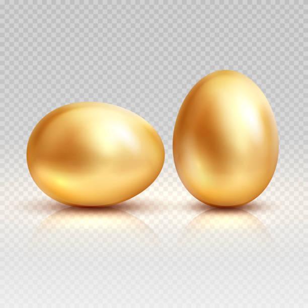 bildbanksillustrationer, clip art samt tecknat material och ikoner med guldägg realistisk vektorillustration för påsk gratulationskort - ägg